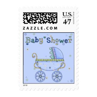 Blue Stroller Baby Shower Postage Stamp