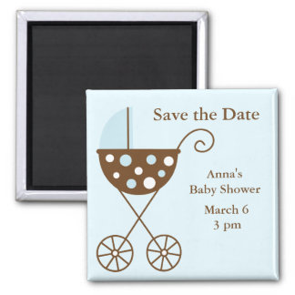Blue Stroller Baby Shower Save the Date 2 Inch Square Magnet