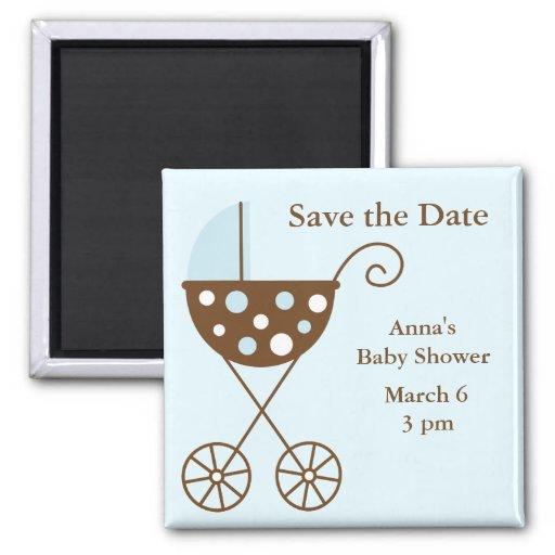 Blue Stroller Baby Shower Save the Date Refrigerator Magnets