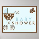Blue Stroller Baby Shower Sign Print