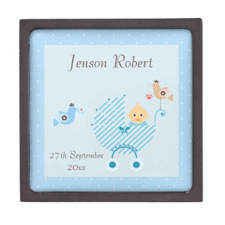 Blue Stroller & Birds New Baby Premium Keepsake Boxes