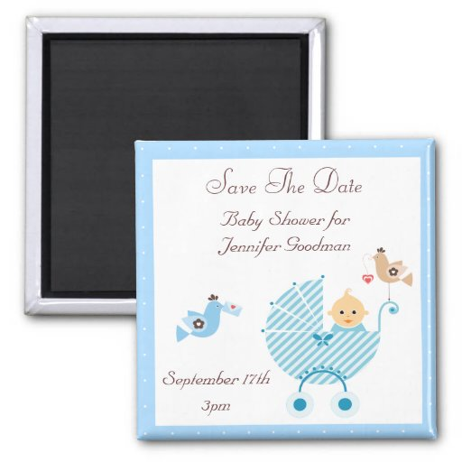 Blue Stroller & Birds Save The Date Baby Shower Magnets