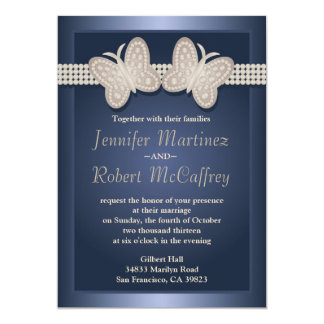 Blue Studded Butterfly Wedding Invitations