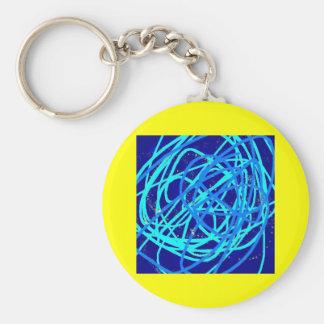 blue stuff basic round button keychain
