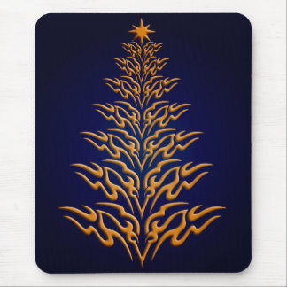 Blue Stylish Christmas Tree Mouse Pad