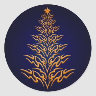 Blue Stylish Christmas Tree Stickers