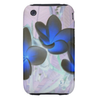 Blue Stylish Flower iPhone 3 Tough Covers
