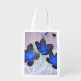 Blue Stylish Flower Reusable Grocery Bags