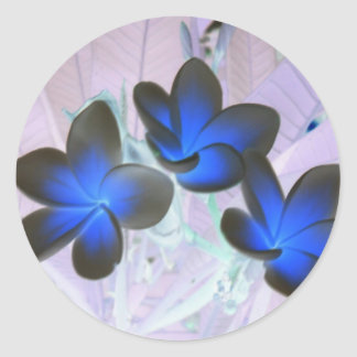 Blue Stylish Flower Classic Round Sticker