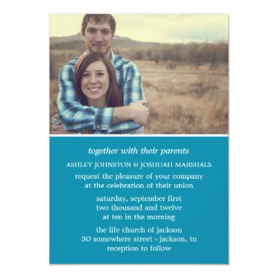 Blue Stylish Photo Wedding Invitations