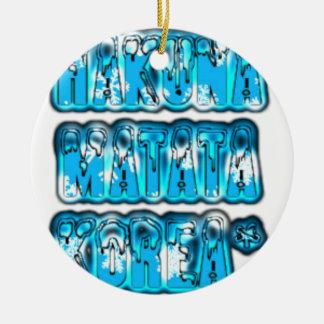 Blue stylish vintage Zombi  Design Hakuna Matata K Ceramic Ornament