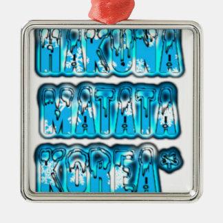 Blue stylish vintage Zombi  Design Hakuna Matata K Metal Ornament
