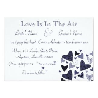 Blue Stylized Hearts Custom Wedding Card