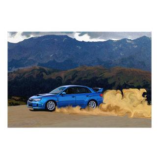 Blue Subaru WRX STi Drifting in the Mountains Photo Print