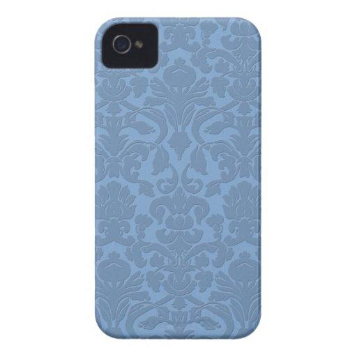 Blue Subtle Embossed Style Damask Iphone 4/4S Case