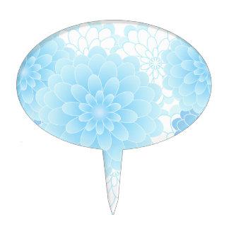 Blue subtle flowers cake pick