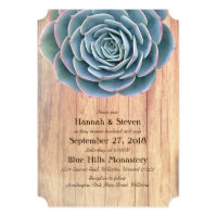 Blue Succulent Rustic Country Wedding Invitations