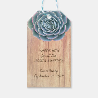 Blue Succulent Wood Wedding Favor Gift Tag