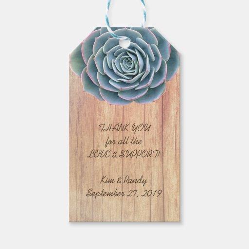 Wedding Gift Tags Nz : Blue Succulent Wood Wedding Favor Gift Tag Zazzle