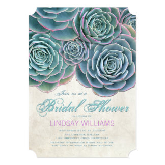 Blue Succulents Country Bridal Shower Card