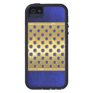 Blue Suede 3D Gold Circles iPhone Case
