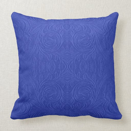 Blue Microsuede Throw Pillows : Blue Suede Leather Floral Design Throw Pillow Zazzle