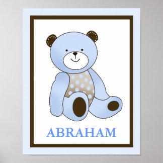 Blue Sugar Cookie Teddy Bear Name Art Print