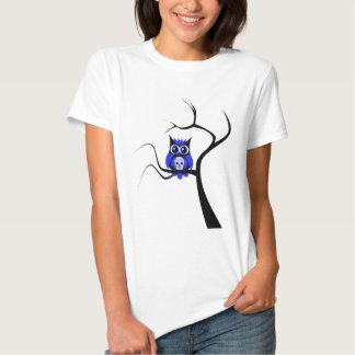 Blue Sugar Skull Owl in Tree T-Shirt