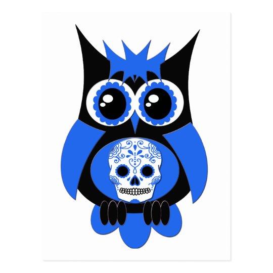 Blue Sugar Skull Owl Postcard