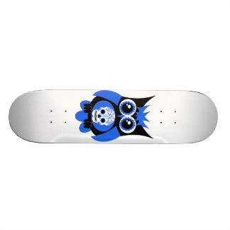 Blue Sugar Skull Owl Skateboard