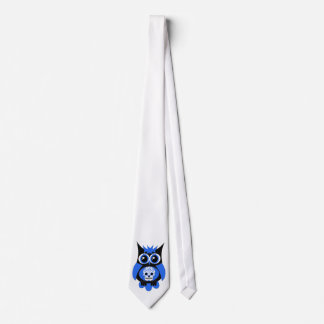 Blue Sugar Skull Owl Tie
