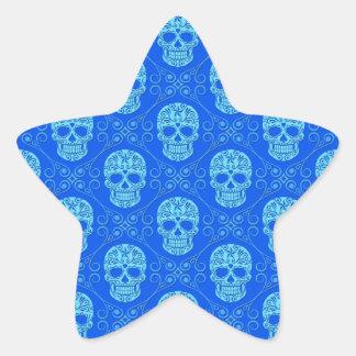 Blue Sugar Skull Pattern Star Sticker