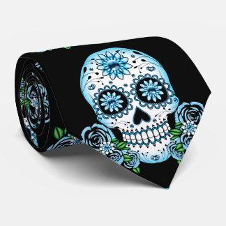 Blue Sugar Skull Tie