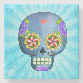 Blue Sugar Skull with Mustaches Stone Beverage Coaster