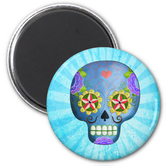 Blue Sugar Skull with Mustaches Refrigerator Magnets