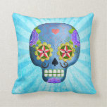 Blue Sugar Skull with Mustaches Throw Pillows