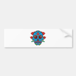 Blue Sugar Skull With Red Eyes and Flowers Tattoo Bumper Sticker