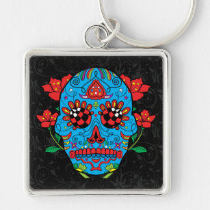 Mexican Tattoo Sugar Skull Keychains Lanyards Zazzle