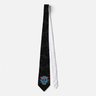 Blue Sugar Skull With Red Eyes and Flowers Tattoo Tie