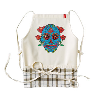 Blue Sugar Skull With Red Eyes and Flowers Tattoo Zazzle HEART Apron