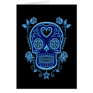 Blue Sugar Skull with Roses on Black Card