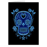 Blue Sugar Skull with Roses on Black Greeting Card
