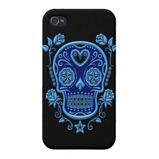 Blue Sugar Skull with Roses on Black iPhone 4 Case