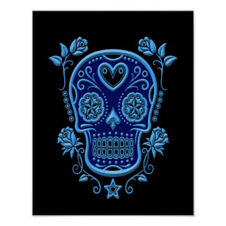 Blue Sugar Skull with Roses on Black Posters