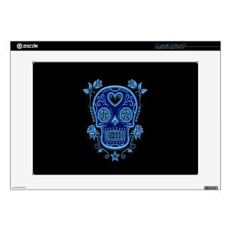 "Blue Sugar Skull with Roses on Black 15"" Laptop Skins"