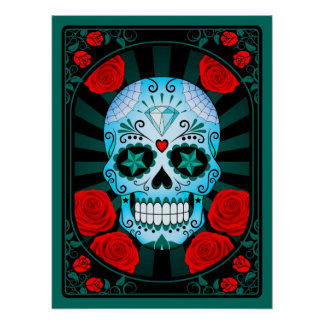 Blue Sugar Skull with Roses Poster