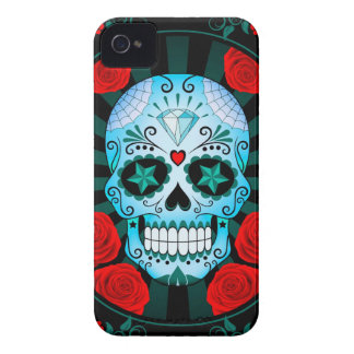 Blue Sugar Skull with Roses Poster iPhone 4 Covers