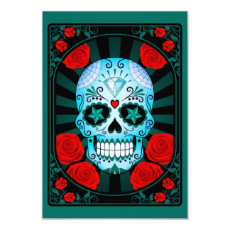 Blue Sugar Skull with Roses Poster Personalized Invite
