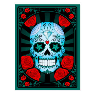 Blue Sugar Skull with Roses Poster Postcard