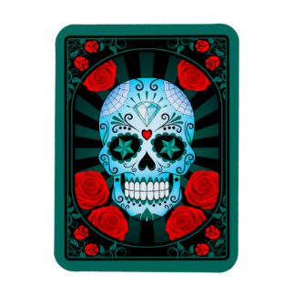 Blue Sugar Skull with Roses Poster Magnets